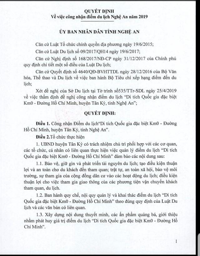 Km số 0trên con đường huyền thoạiđược công nhận điểm du lịch xứ Nghệ - 1