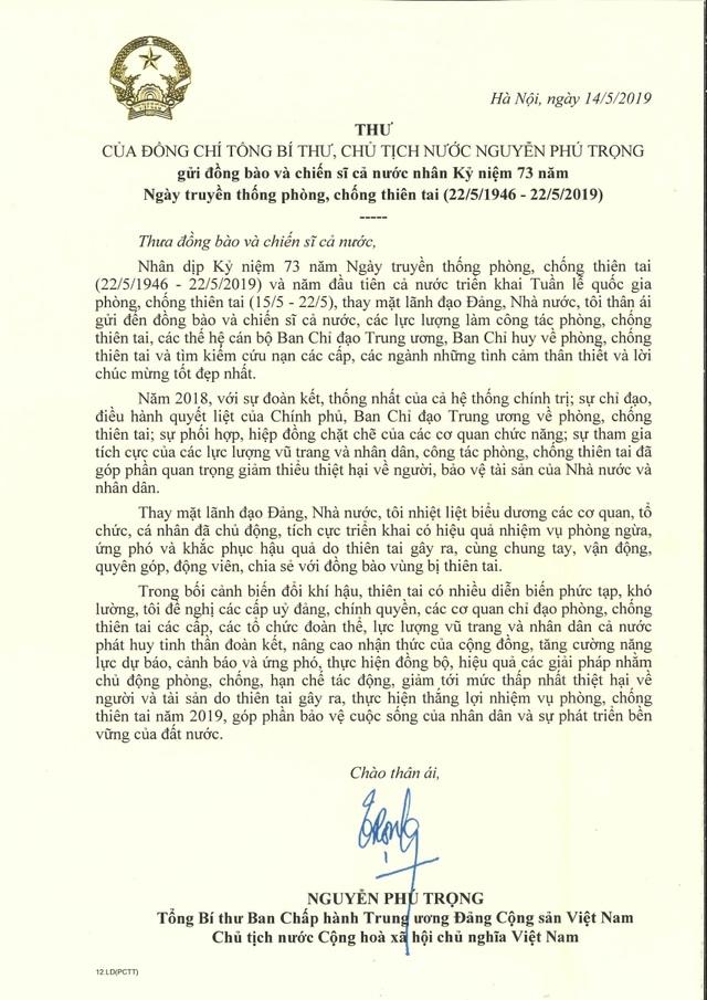Tổng Bí thư, Chủ tịch nước gửi thư chúc mừng ngày truyền thống phòng chống thiên tai