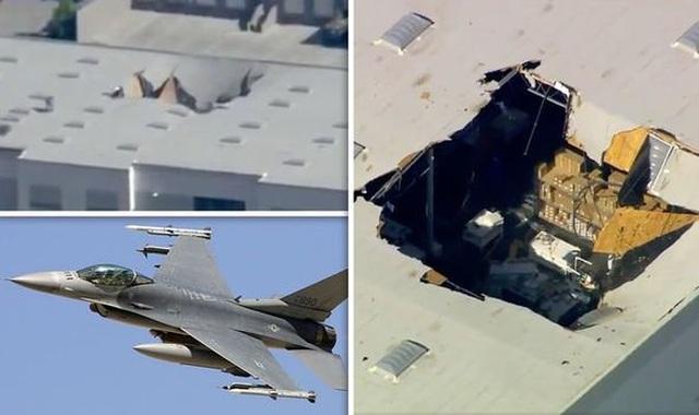 Máy bay chiến đấu F-16 mang vũ khí đâm thủng nóc nhà ở California - 1