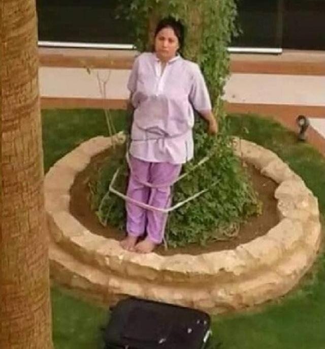 Giúp việc người Philipines bị chủ nhân Ả Rập trói phạt bên gốc cây vì tội quên đồ dưới nắng - 1
