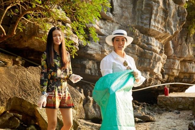 Hoàng Thùy, Minh Tú, Thùy Dung... đội nắng dọn rác trên đảo hoang Hạ Long - 7