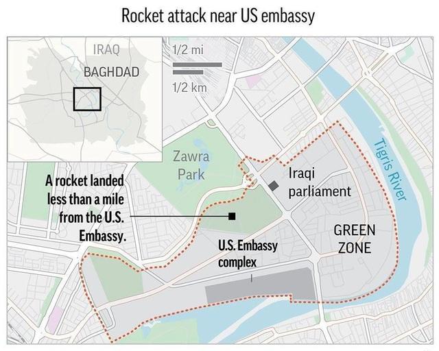 Tên lửa rơi gần Đại sứ quán Mỹ ở Iraq giữa lúc Trung Đông căng như dây đàn - 1