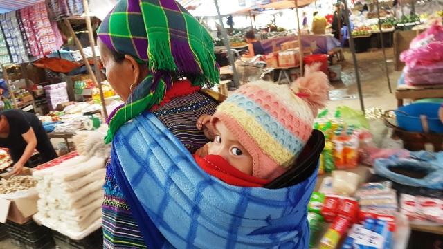 Những em bé đi chợ trên… lưng mẹ ở Bắc Hà! - 11