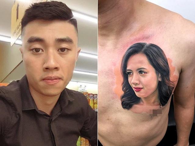 Chàng trai chịu đau 9 tiếng xăm hình chân dung vợ lên ngực - 1