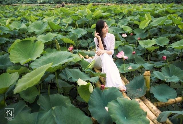 Hoa khôi Imiss Thăng Long đằm thắm giữa hồ sen đầu mùa - 8