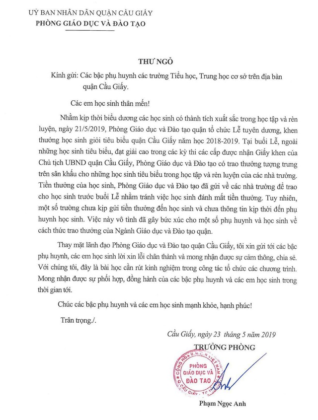 Phòng Giáo dục quận Cầu Giấy xin lỗi phụ huynh, học sinh về phần thưởng là tờ giấy - 1