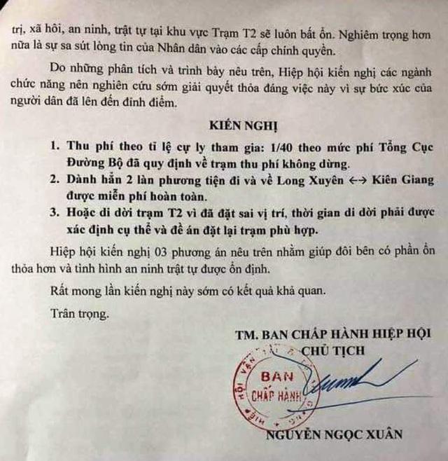 Hiệp hội Vận tải ô tô An Giang đã 15 lần gửi kiến nghị phản đối trạm BOT T2 - 2