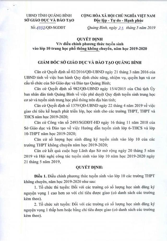 Quảng Bình điều chỉnh phương án tuyển sinh vào lớp 10 năm học 2019 - 2020 - 1