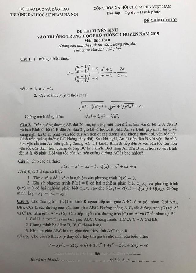 Đề thi môn Toán Trường THPT chuyên Sư phạm: Có câu hỏi thách thức thí sinh - 1