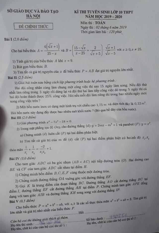 Tuyển sinh lớp 10 Hà Nội: Đề thi môn Toán - 1