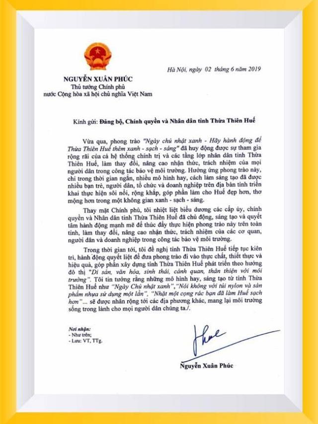 """Thủ tướng gửi thư khen phong trào """"xanh - sạch - sáng"""" của Thừa Thiên Huế - 1"""