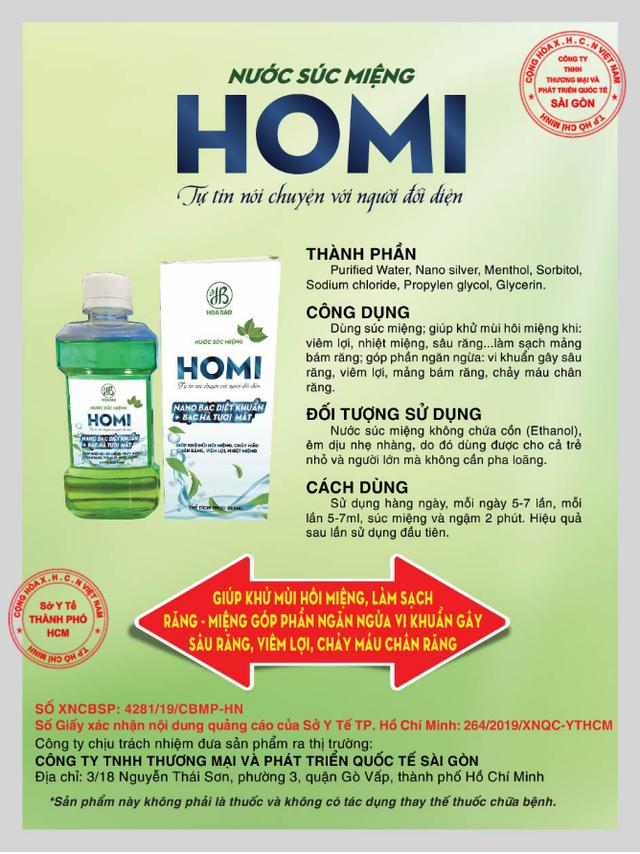 Nước súc miệng Homi - Ngăn ngừa vi khuẩn gây viêm lợi, chảy máu chân răng - 3