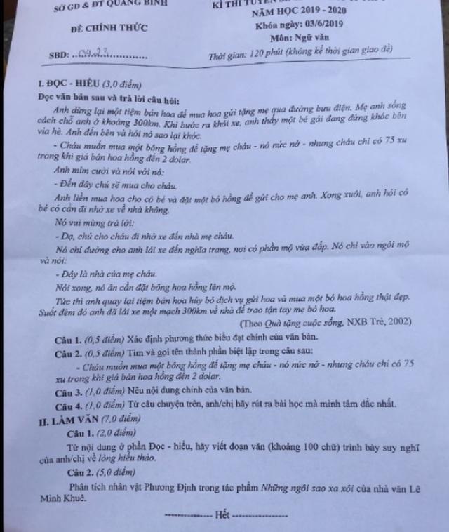Tuyển sinh lớp 10 Quảng Bình: Chuyện xúc động về lòng hiếu thảo vào đề Văn - 1