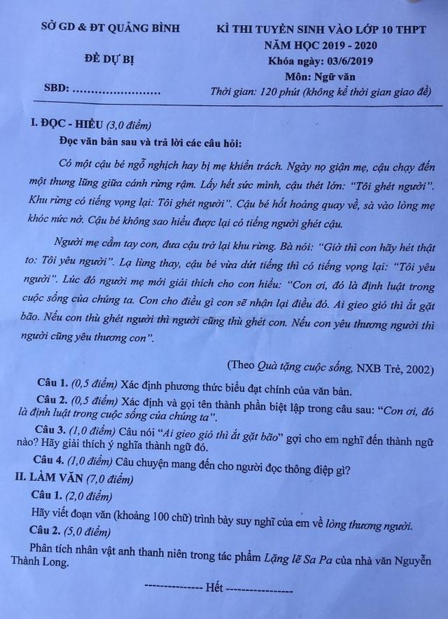 Thi lại Văn vào lớp 10 tại Quảng Bình: Nhiều thí sinh tiếc nuối vì làm bài không tốt bằng lần trước - 2