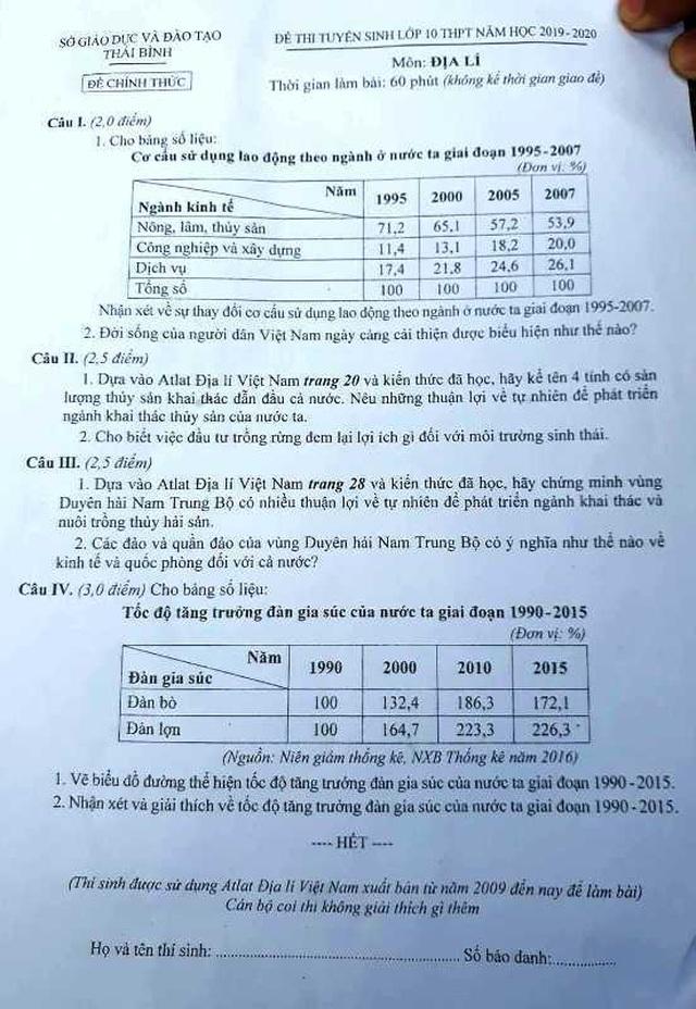 """Tuyển sinh lớp 10 Thái Bình: Đề Ngữ văn vừa sức, đề Địa lý """"dễ thở"""" - 3"""