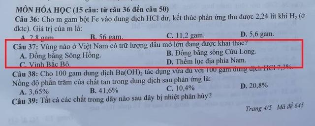 Tuyển sinh lớp 10 ở Nghệ An: Nhầm kiến thức Địa lý vào đề thi môn Hóa? - 1