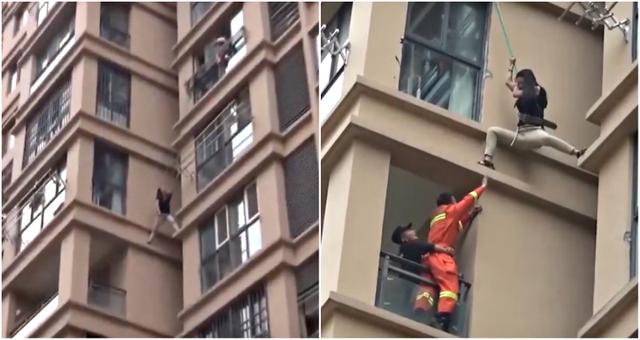 Cô gái liều lĩnh trèo từ tầng 6 chung cư ra ngoài để thoát khỏi bạn trai - 1