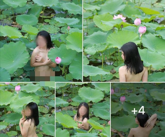 Khỏa thân chụp ảnh dưới hồ sen, cô gái bị dư luận chỉ trích - 1