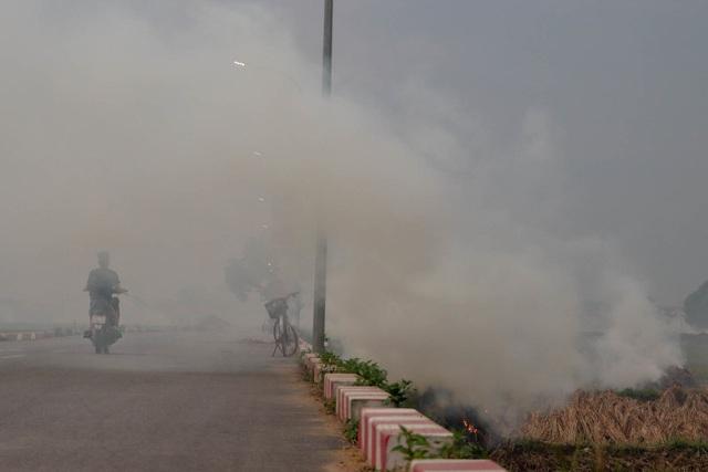 Nhiều tuyến đường ngoại thành Hà Nội mù mịt khói rơm rạ - 4