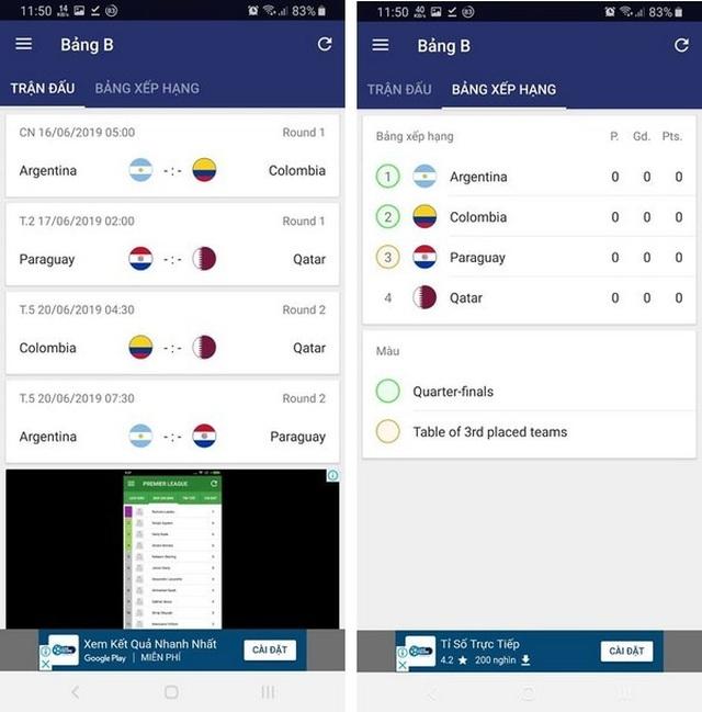 """Ứng dụng lịch thi đấu thông minh Copa America 2019 dành cho các """"tín đồ"""" bóng đá - 2"""