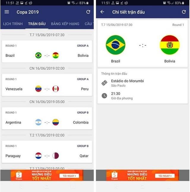 """Ứng dụng lịch thi đấu thông minh Copa America 2019 dành cho các """"tín đồ"""" bóng đá - 3"""