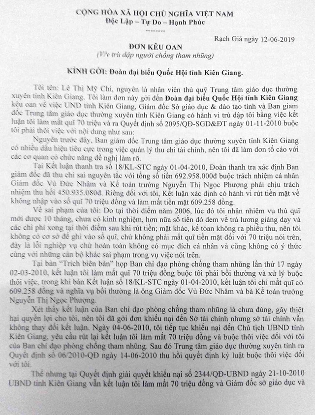 Bài 7: Lá đơn kêu cứu đẫm nước mắt gửi đoàn Đại biểu Quốc hội tỉnh Kiên Giang - 1