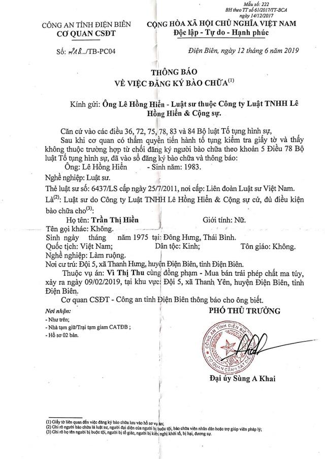 Công an Điện Biên thông báo luật sư đăng ký bào chữa cho mẹ nữ sinh giao gà bị sát hại - 1