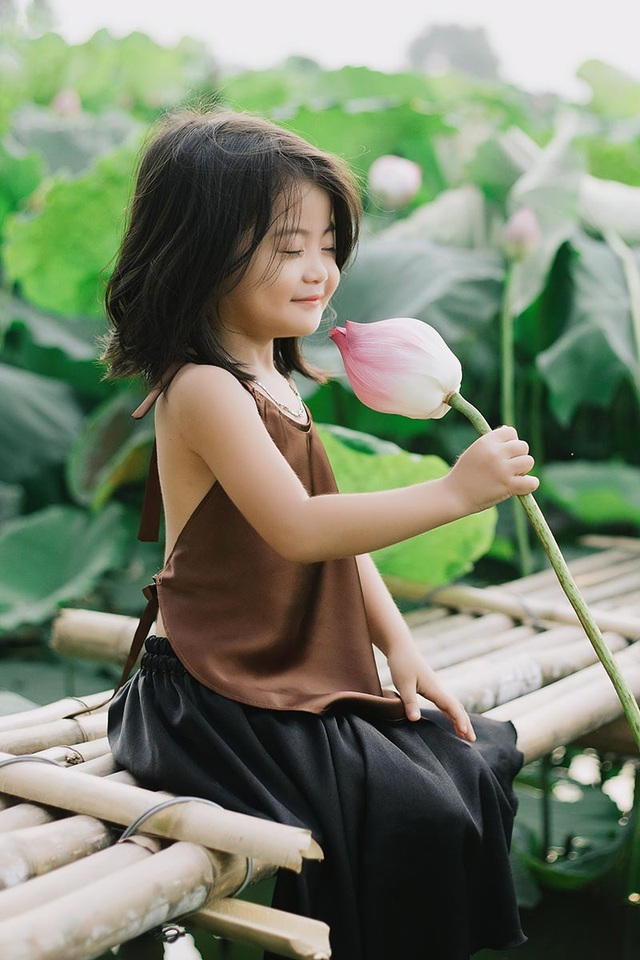 Bé gái Bắc Ninh xinh như thiên thần bên hoa sen - 3
