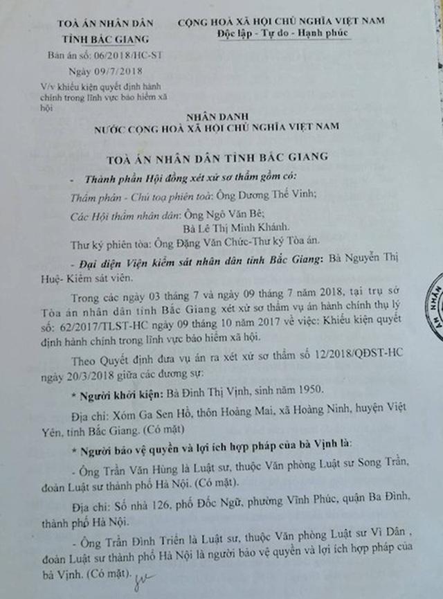 Xử phúc thẩm vụ người dân kiện Giám đốc Bảo hiểm xã hội Bắc Giang ra toà - 3