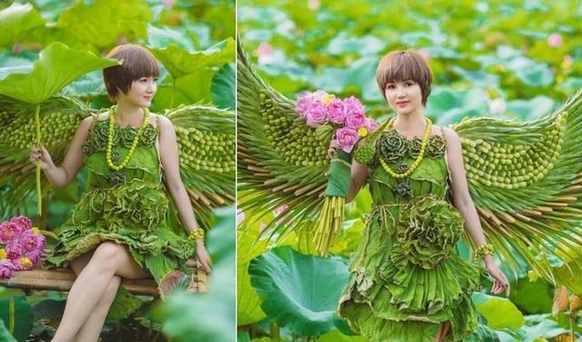 Độc đáo bộ ảnh sen với trang phục hoàn toàn bằng lá cây - 1