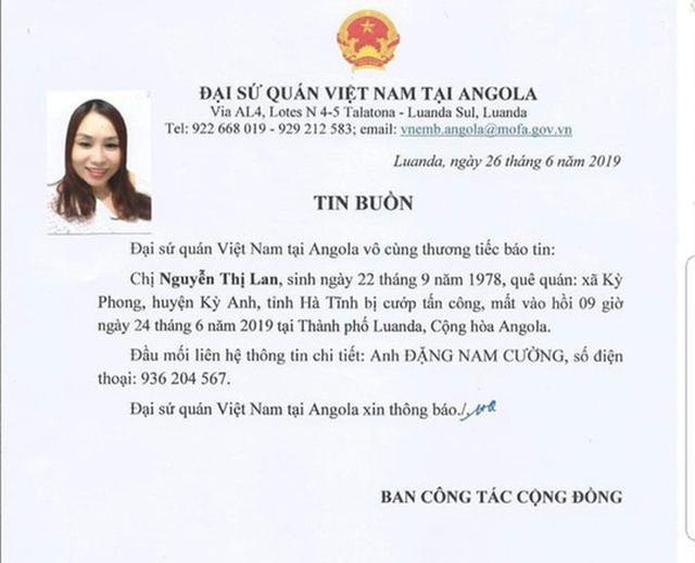 Một nữ lao động Việt bị cướp sát hại khi đang cầm túi tiền tại Angola - 1