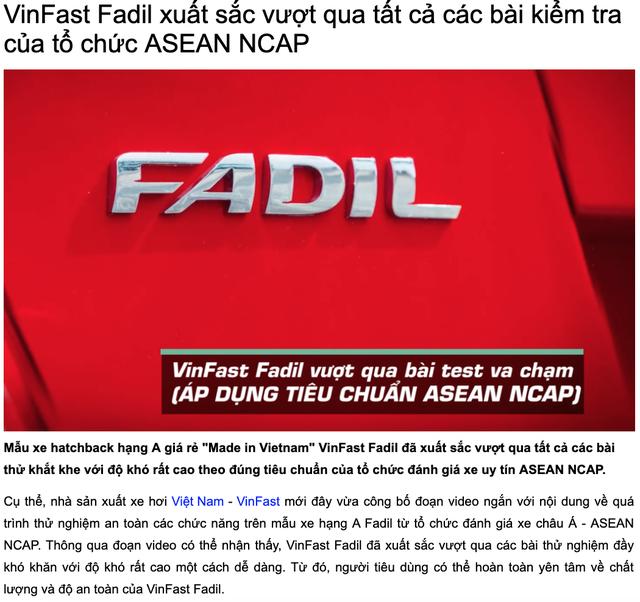 VinFast Fadil chưa được thử nghiệm với tổ chức đánh giá xe mới của ASEAN NCAP - 2