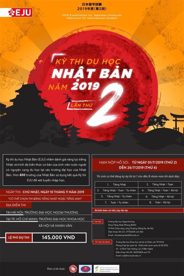 Thông tin về Kỳ thi Du học Nhật Bản (EJU) đợt 2 năm 2019 và học bổng của tổ chức JASSO - 2