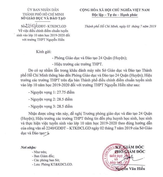 TP.HCM: Điều chỉnh điểm chuẩn vào lớp 10 của trường THPT Nguyễn Hiền - 1