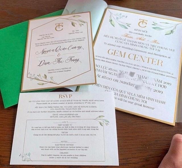 Lộ thiệp cưới và những yêu cầu khi tham dự hôn lễ Quốc Cường - Đàm Thu Trang - 2