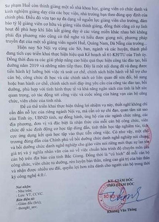 Sở Nội vụ Bắc Giang hồi âm tình trạng giáo viên thiếu tiêu chuẩn bồi dưỡng chức danh nghề nghiệp - 2