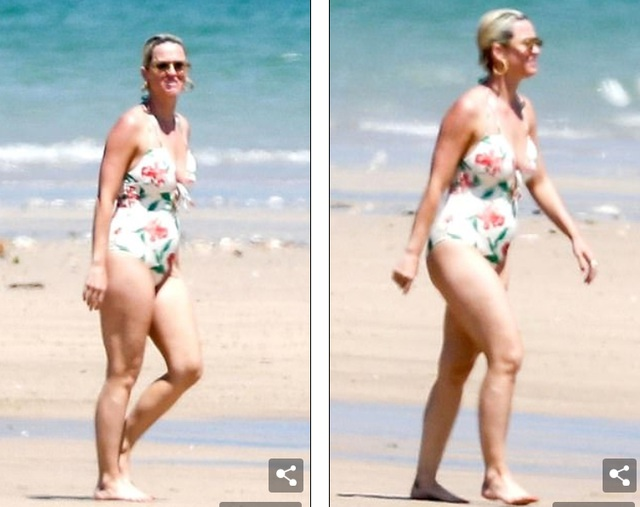Katy Perry diện áo tắm lộ bụng tròn vo - 3
