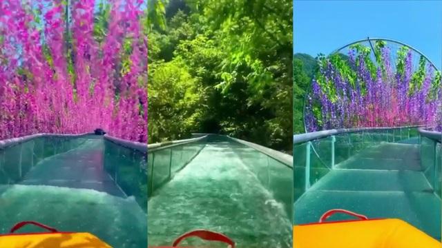 Độc đáo máng trượt nước xuyên đường hầm toàn hoa ở độ cao 70m - 2