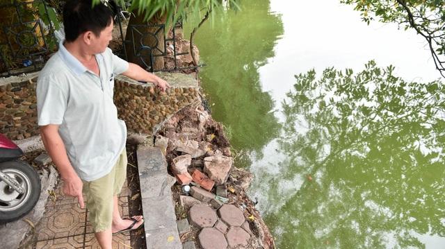 Bờ hồ Gươm nham nhở vì sạt lở kè - 2