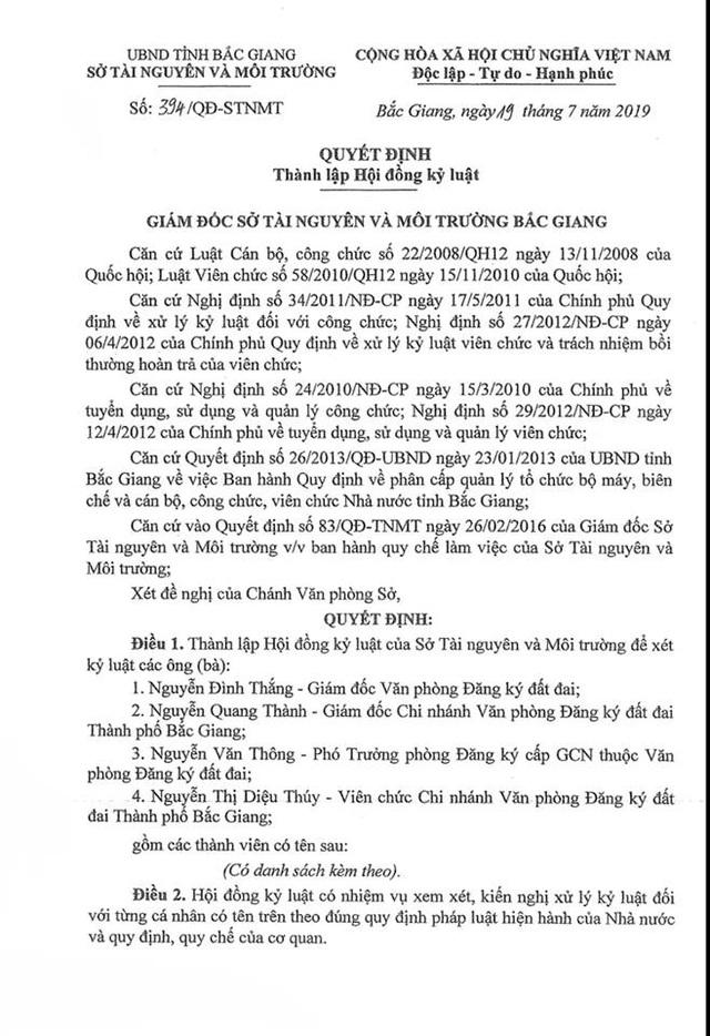 Thành lập hội đồng xem xét kỷ luật hàng loạt cán bộ, lãnh đạo Sở TNMT tỉnh Bắc Giang - 1