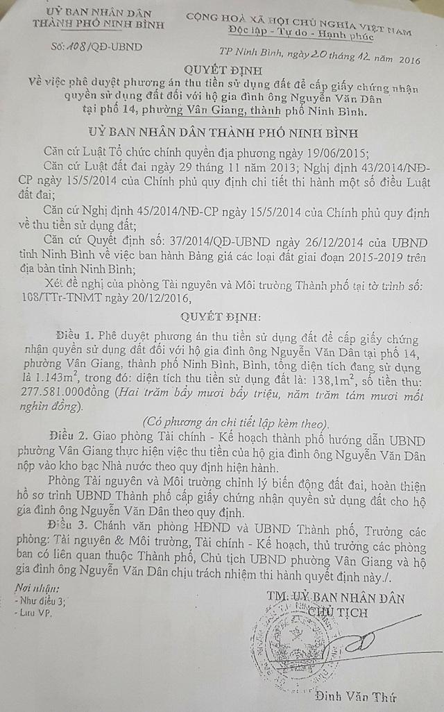 """UBND thành phố Ninh Bình """"chữa cháy"""" việc hoá giá đất công giá """"bèo"""" thế nào? - 1"""