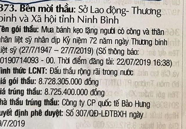 Ninh Bình nói gì về gói thầu 8,7 tỷ đồng mua bánh kẹo tặng dịp 27/7 - 1