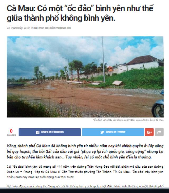 Đăng thông tin sai về nhà đất của Chủ tịch Cà Mau, một trang điện tử bị đề nghị xử lý - 1