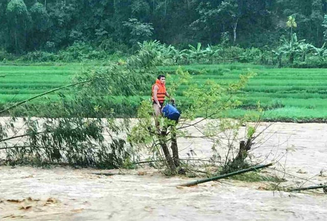 Giải cứu người đàn ông mắc kẹt trên ngọn cây, giữa dòng nước lũ - 2