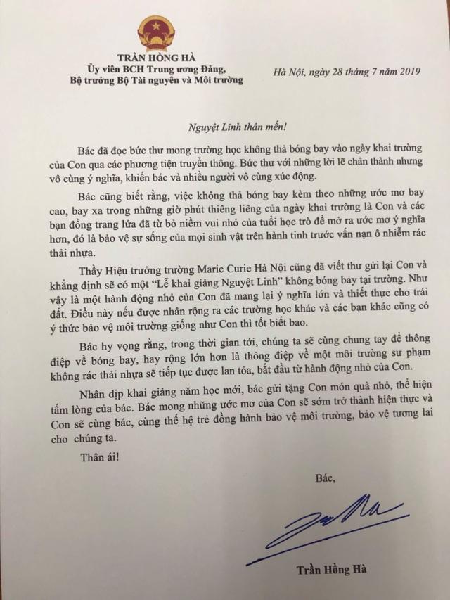 Bộ trưởng Trần Hồng Hà gửi thư khen nữ sinh viết thư mong không thả bóng bay dịp khai giảng - 1