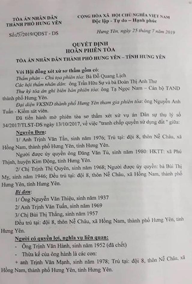 """Chốt lịch xử lại vụ án được 2 cấp toà tỉnh Hưng Yên xử sai be bét bị """"tuýt còi"""" - 3"""