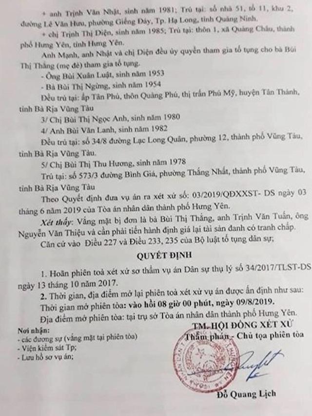 """Chốt lịch xử lại vụ án được 2 cấp toà tỉnh Hưng Yên xử sai be bét bị """"tuýt còi"""" - 4"""