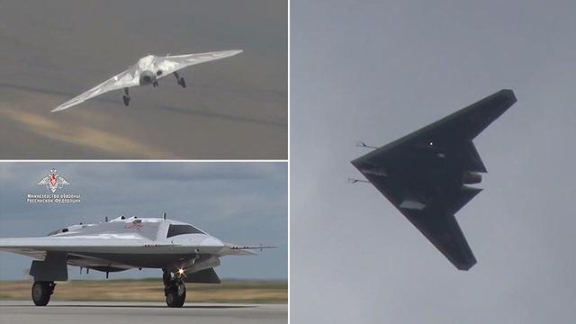"""Nga tung video máy bay tàng hình """"thợ săn bầu trời"""" Okhotnik - 1"""
