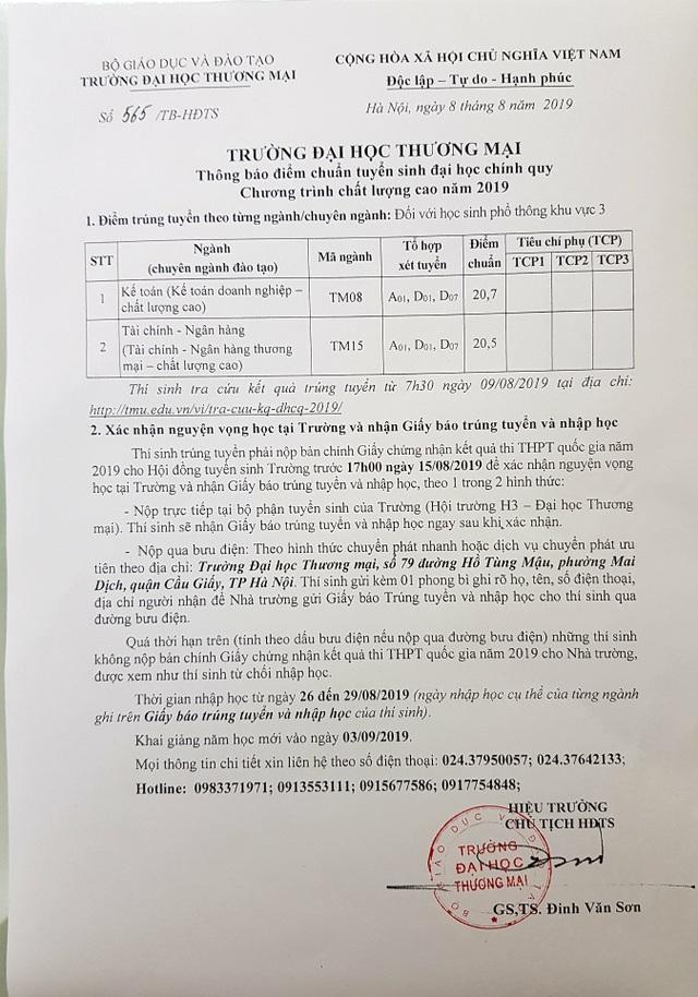 Trường ĐH Thương Mại công bố điểm chuẩn năm 2019 - 1