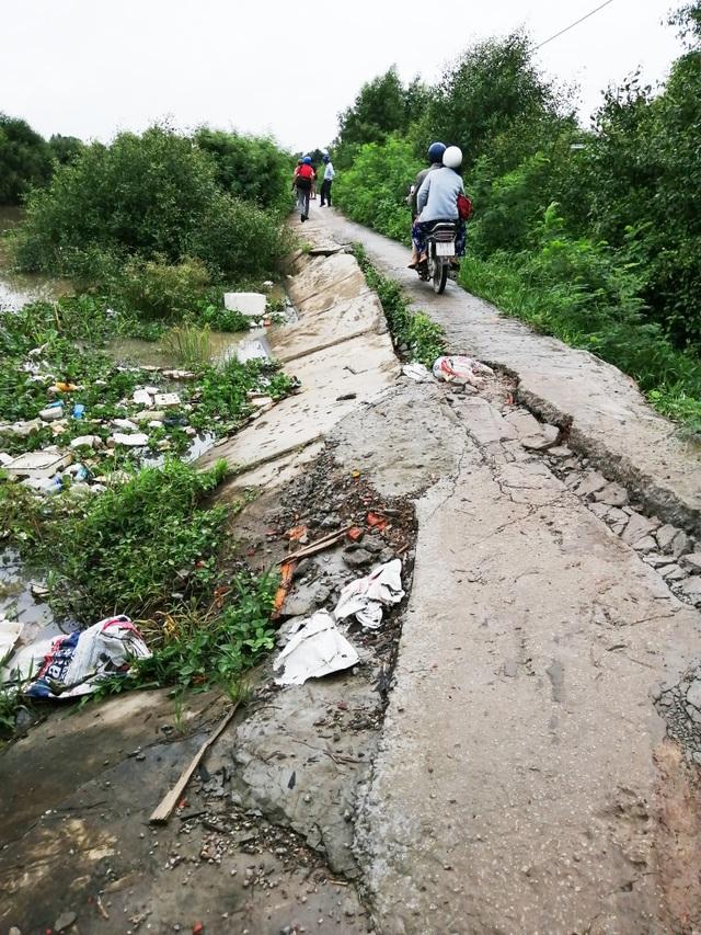 Bạc Liêu: Sụp lún nuốt chửng đường nông thôn, dân xuống xe dắt bộ cũng… run - 1